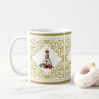 Memorare Lady of Fatima Roses Gold Decor Coffee Mug