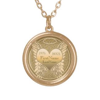 Memorial | Add Name | Dates | Gold Round Pendant Necklace