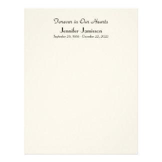Memorial Book Filler Page, Off White Color Letterhead Design