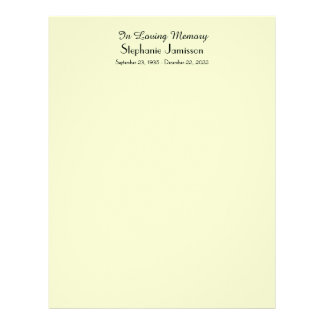 Memorial Book Filler Page, Pale Green Color Letterhead