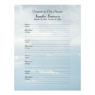 Memorial Book Filler Sign-In Page 4 Name/Pg Clouds Customized Letterhead