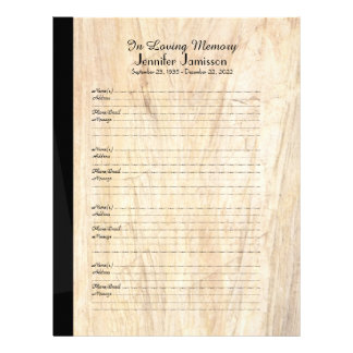 Memorial Book Filler Sign-In Page Faux Parchment