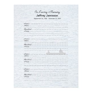 Memorial Book Filler Sign-In Page Fishermen Personalized Letterhead