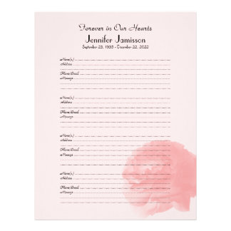 Memorial Book Filler Sign-In Page, Rose at Bottom Customized Letterhead
