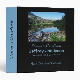 Memorial Book, Reflection in Lake, Blue Spine 3 Ring Binder