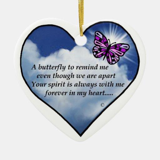 Memorial Butterfly Poem Ceramic Heart Ornament