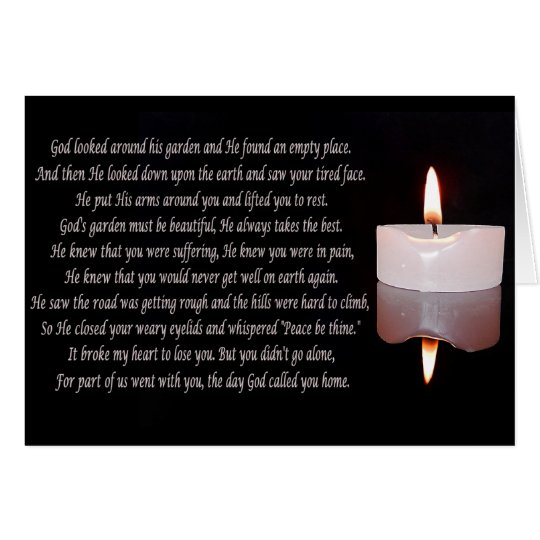 Memorial candle with verse card