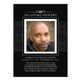 Memorial Card - Elegant Black - Poem of Life