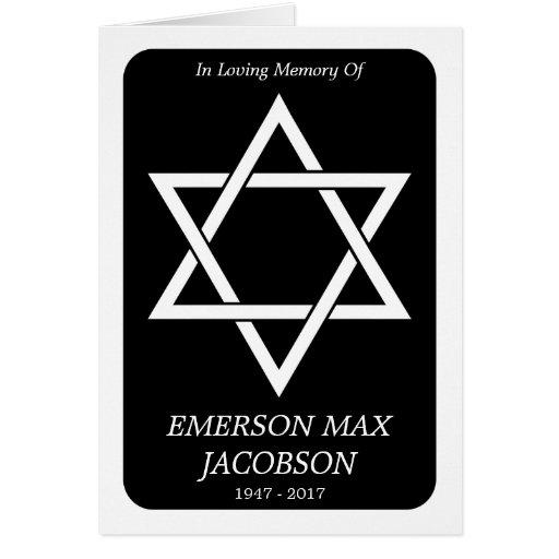 memorial card : elegant star of david