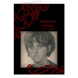 memorial cards : red flourish
