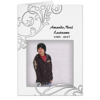 memorial cards : white flourish