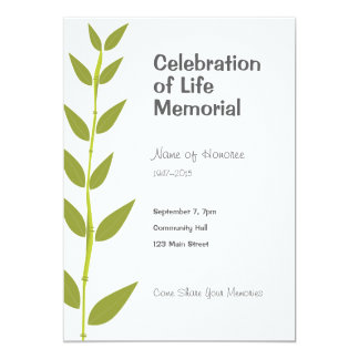 Memorial Celebration of Life Bamboo Modern Card