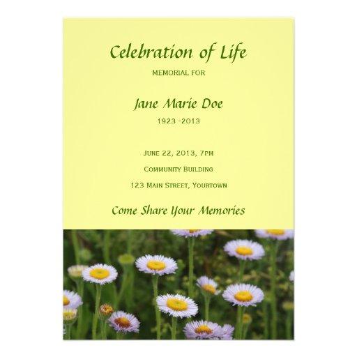 Memorial celebration of life flowers personalized invitation zazzle for Celebration of life template free