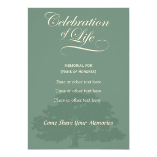 Memorial Celebration of Life Oak Sage invitatation Card
