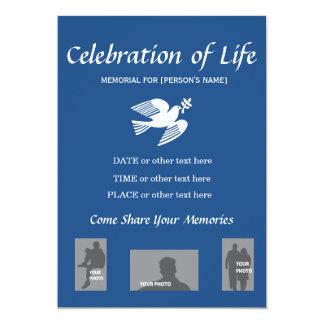 Memorial Celebration of Life Peace Dove invitation