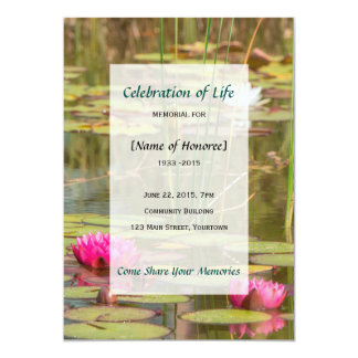 Memorial Celebration of Life Water Lily Invitation