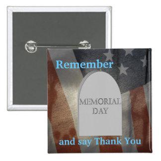 Memorial Day 2 Inch Square Button