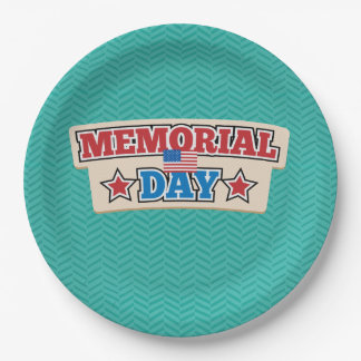 Memorial Day Chevron Disposable Plates 9 Inch Paper Plate