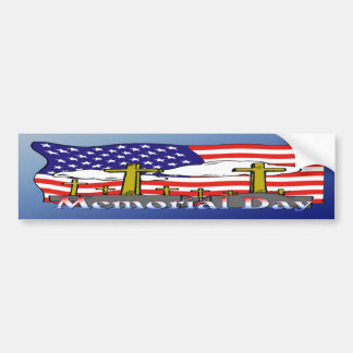 Memorial Day - Flag Gravestone Bumper Sticker Car Bumper Sticker