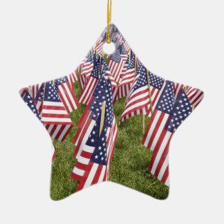 Memorial Day Flags Ceramic Star Ornament