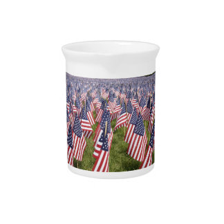 Memorial Day Flags Drink Pitcher