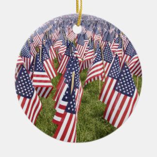 Memorial Day Flags Round Ceramic Ornament