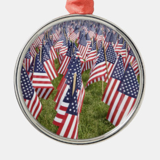 Memorial Day Flags Silver-Colored Round Ornament