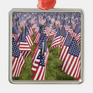 Memorial Day Flags Silver-Colored Square Ornament