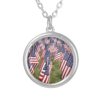 Memorial Day Flags Silver Plated Necklace