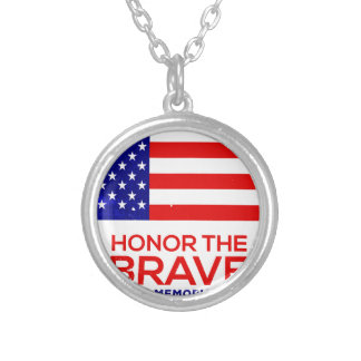 Memorial Day grunge Silver Plated Necklace