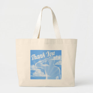 Memorial Day or Veterans Day Thank You Design Large Tote Bag