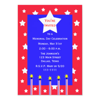 Memorial Day Party Fireworks and Stars Invitation