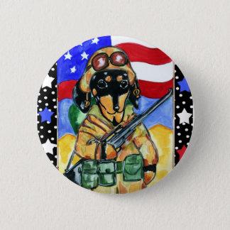 Memorial Day Soldier Dachshund 2 Inch Round Button