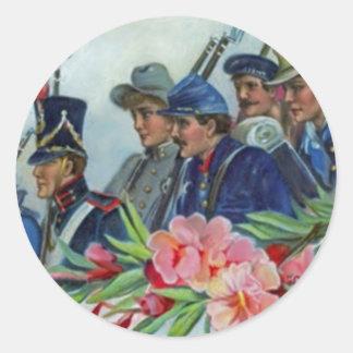 Memorial Day Soldiers Round Sticker