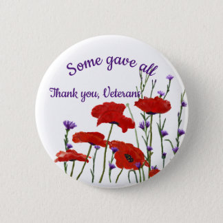 Memorial Day, Veterans Day Red Poppies 2 Inch Round Button