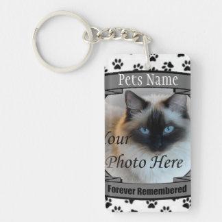 Mémorial de chat - pour toujours rappelé - chat de porte-clé rectangulaire en acrylique double face