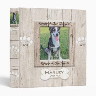 Mémorial fait sur commande de photo de chien classeur vinyle