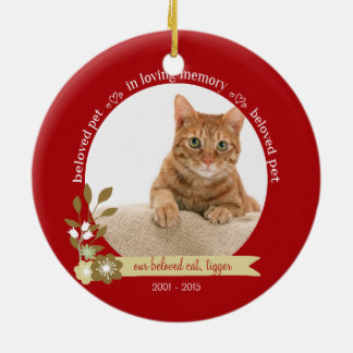 Memorial for pet at Christmas custom photo name Ceramic Ornament