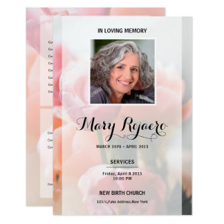 Memorial Funeral Card With Floral Background