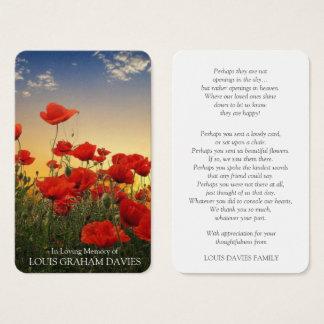 Memorial Funeral Prayer Card   Beautiful Poppies