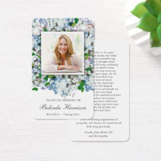 Memorial Funeral Prayer Card   Blue Hydrangea