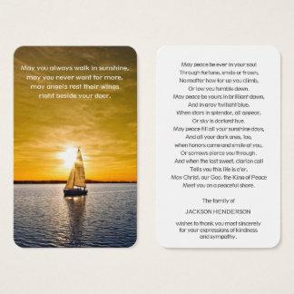 Memorial Funeral Prayer Card   Boat & Sunset