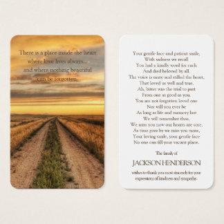 Memorial Funeral Prayer Card   Country Sunset