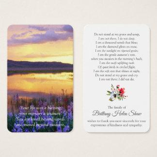 Memorial Funeral Prayer Card   Floral Lake
