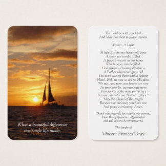 Memorial Funeral Prayer Card   Hawaiian Sunset