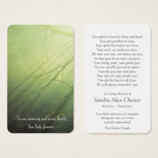 Memorial Funeral Prayer Card   Peaceful Forest