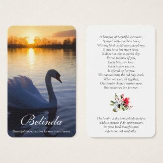 Memorial Funeral Prayer Card   Sunset Swan