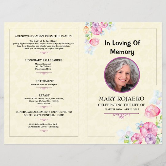 memorial funeral program template. Black Bedroom Furniture Sets. Home Design Ideas