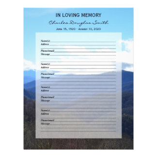 Memorial Guest Book Filler Page Mountains