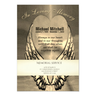 Memorial Invitation | Gold Heart w/ Angel Wings